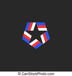 Star shape logo of the blue-red-white American tricolor ribbons inscribed in the pentagon, the national symbol of the USA