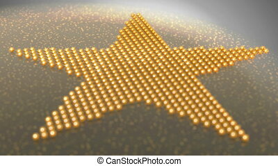 Star shape made of golden shiny balls - Loopable changing...