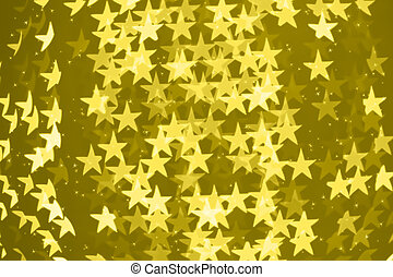 Star shaped blurred bokeh illuminating background with sparkles