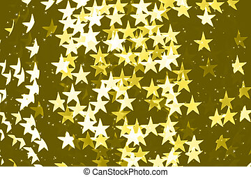 Star shaped blurred yellow bokeh background with sparkles