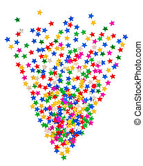 star shaped colorful confetti on white background