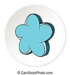 Star shaped flower icon, cartoon style