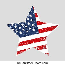Star shaped grunge American vector flag