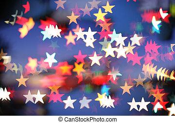 star-shaped, helgdag, highlights., bakgrund, suddig