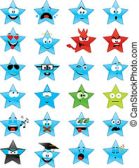 Star-shaped smiley faces - Collection of 24 star-shaped...
