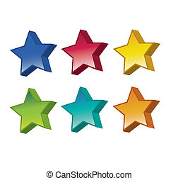 Star Shapes - A set of six star shaped web icons or buttons...