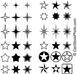 Star shapes isolated on white. - Vector collection of stars ...