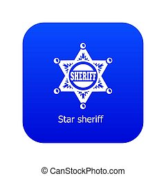 Star sheriff icon blue