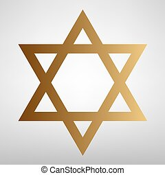 Star. Shield Magen David. Symbol of Israel. Flat style icon...