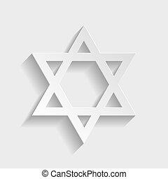 Star. Shield Magen David. Symbol of Israel on transparent...