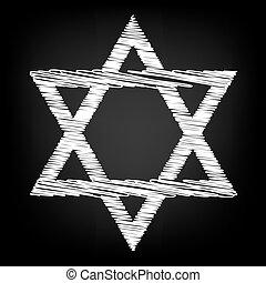 Star. Shield Magen David. Symbol of Israel Scribble effect...