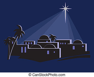 Star Shining Over Bethlehem - An illustration of the town of...