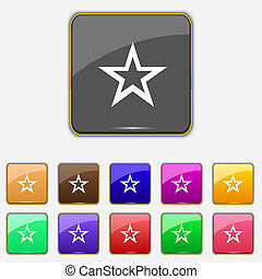 Star sign icon. Favorite button. Navigation symbol. Set buttons. Vector