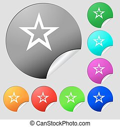 Star sign icon. Favorite button. Navigation symbol. Set of eight multi colored round buttons, stickers. Vector