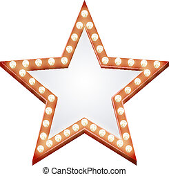 Star sign - Illustration of a star shaped illuminated sign...