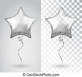 Silver transparent balloon in the shape of a star isolated on a plaid background. Balloons isolated air. Mockup for balloon print. Vector isolated object.