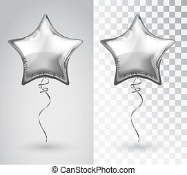 Star silver balloon on transparent background. Vector...