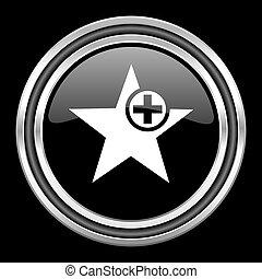 star silver chrome metallic round web icon on black background