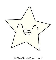 Star smiling kawaii cartoon in black and white