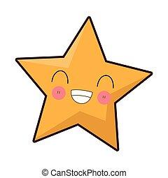 Star smiling kawaii cartoon