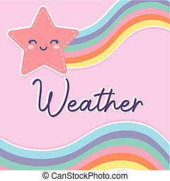 star smiling with one rainbow and weather lettering