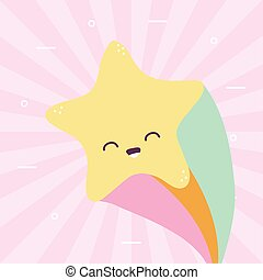 star smiling with one rainbow over a colored background