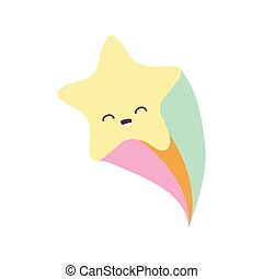 star smiling with one rainbow