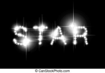 Star spelled - The word STAR spelled with shimmering stars
