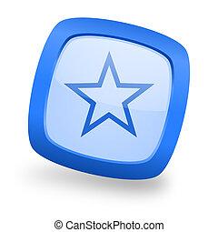star square glossy blue web design icon