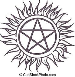 Star sun sign vector illustration. - Star sun logo ...
