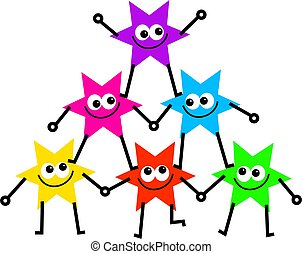 group of colourful cartoon stars forming a triangle of support
