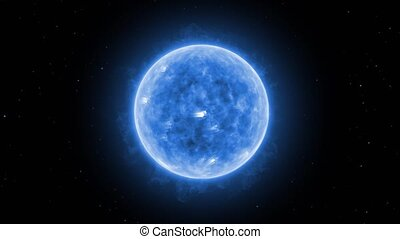 Star surface with solar flares, Burning of the blue giant...