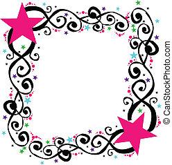 Star Swirl Frame Border Vector