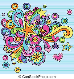Groovy Psychedelic Star and Swirls Abstract Doodles Hand Drawn Notebook Doodle Design Element on Lined Sketchbook Paper Background- Vector Illustration