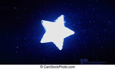 Star Symbol Digital Pixel Noise Error Animation.