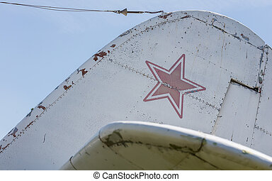 Star symbol on an old warplane