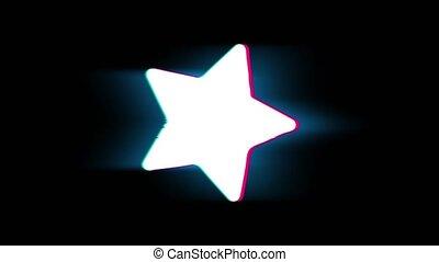 Star Symbol on Glitch Retro Vintage Animation. - Star Symbol...