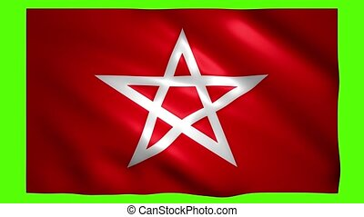 Star symbol on the red flag on green screen for chroma key