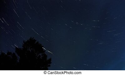 Star tails over the period of 8 hours