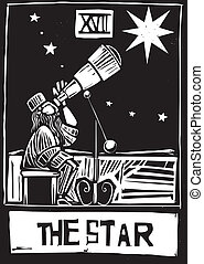 Star Tarot - Woodcut style Tarot card for the Star.