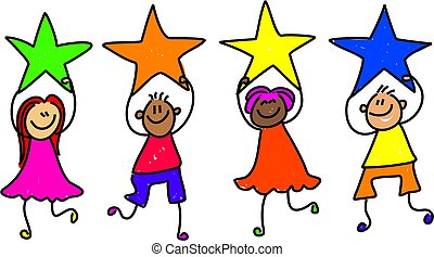 star team - a group of happy and diverse little children...