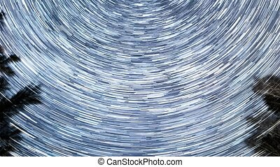 Star tracks in the form of long lines. Time Lapse