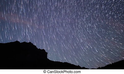 Star tracks. Panorama. Time Lapse