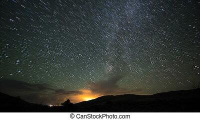 Star Trails Milky Way Time-lapse 4k
