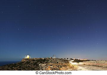 Star Trails Over Dingli Radar