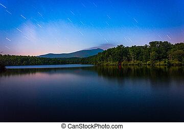 Star trails over Julian Price Lake at night, along the Blue Ridge Parkway in North Carolina.