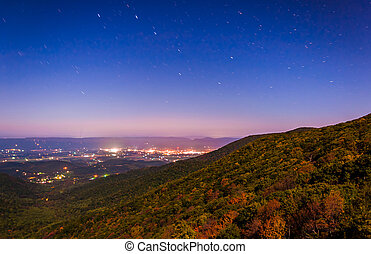 Star trails over the Shenandoah Valley at night, seen from...