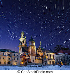 Star Trails - Royal Cathedral - Krakow - Poland