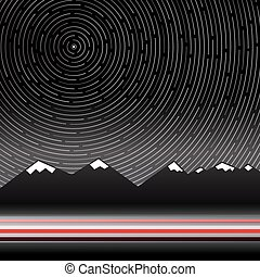 Star Trails Vector Illustration with Mountains on Background