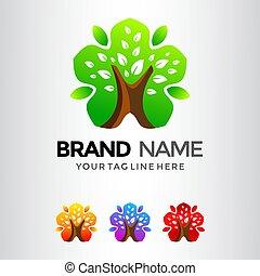 Star Tree Leaf Logo Template